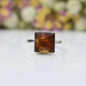 Fire Amber Stone Ring, Sterling Silver Ring, Square Stone Ring, Statement Ring, Cabochon Gemstone, Silver Band Ring, Natural Gemstone, Boho | Natural genuine Gemstone rings, simple unique handcrafted gemstone rings. #rings #jewelry #shopping #gift #handmade #fashion #style #affiliate #ad