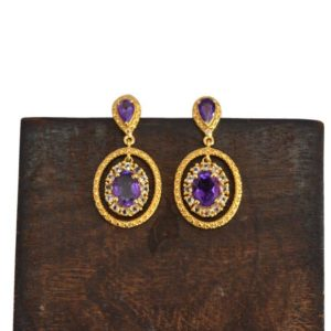 Shop Amethyst Earrings! Elegant Amethyst Earring, 6x4mm Oval & Pear Amethyst Gemstone Dangle Earring, 18k Gold Plated Earring, CZ Drop Earrings, 925 Silver Earrings | Natural genuine Amethyst earrings. Buy crystal jewelry, handmade handcrafted artisan jewelry for women.  Unique handmade gift ideas. #jewelry #beadedearrings #beadedjewelry #gift #shopping #handmadejewelry #fashion #style #product #earrings #affiliate #ad
