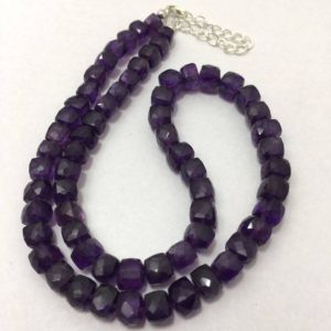 Shop Amethyst Bead Shapes! Natural Amethyst Faceted Box Beaded Necklace, 6.5mm to 7.5mm, 16 inches, Purple Necklace, Gemstone Beads, Semiprecious Stone Beads   Natural genuine other-shape Amethyst beads for beading and jewelry making.  #jewelry #beads #beadedjewelry #diyjewelry #jewelrymaking #beadstore #beading #affiliate #ad