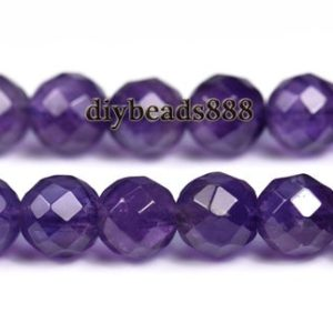Shop Amethyst Round Beads! Crystal Quartz,15 inch full strand Amethyst faceted(64 faces) round beads,Crystal beads,purple color 6mm | Natural genuine round Amethyst beads for beading and jewelry making.  #jewelry #beads #beadedjewelry #diyjewelry #jewelrymaking #beadstore #beading #affiliate #ad