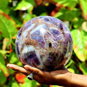 Shop Amethyst Shapes! Huge Natural 175MM 18CM Blue Chevron Amethyst Stone Metaphysical Healing Power Sphere Ball | Natural genuine stones & crystals in various shapes & sizes. Buy raw cut, tumbled, or polished gemstones for making jewelry or crystal healing energy vibration raising reiki stones. #crystals #gemstones #crystalhealing #crystalsandgemstones #energyhealing #affiliate #ad
