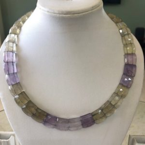 "Shop Ametrine Necklaces! Natural Ametrine Layout Necklace Gemstone Bib Necklace Cleopatra Necklace Collar Necklace For Women, 12"" / 9mm To 14mm 34 Pieces, Gds1904 
