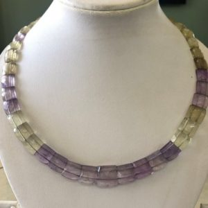"Shop Ametrine Necklaces! Natural Ametrine Layout Necklace Gemstone Bib Necklace Cleopatra Necklace Collar Necklace For Women, 12"" / 9mm To 14mm 39 Pieces, Gds1902 