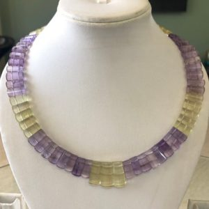 "Shop Ametrine Necklaces! Natural Ametrine Layout Necklace Gemstone Bib Necklace Cleopatra Necklace Collar Necklace For Women, 12"" / 10mm To 19mm 65 Pieces, Gds1901 