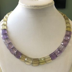 "Shop Ametrine Necklaces! Natural Ametrine Layout Necklace Gemstone Bib Necklace Cleopatra Necklace Collar Necklace For Women, 12"" / 9mm To 14mm 37 Pieces, Gds1903 