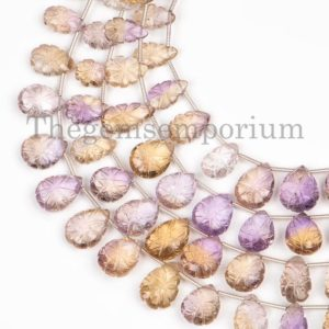 Carving Ametrine Beads, Ametrine Flower Carved Beads, Flower Carving Pear Beads, Ametrine Beads, Pear Shape Briolette, Gemstone For Jewelry | Natural genuine other-shape Gemstone beads for beading and jewelry making.  #jewelry #beads #beadedjewelry #diyjewelry #jewelrymaking #beadstore #beading #affiliate #ad