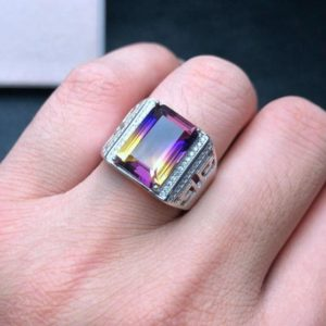 Shop Ametrine Jewelry! Natural Ametrine Men's Ring, Men's Ring, Color Fire Ring, Ametrine Engagement Ring ,925 Sterling Silver, Wedding Ring, Gift For Him | Natural genuine Ametrine jewelry. Buy handcrafted artisan wedding jewelry.  Unique handmade bridal jewelry gift ideas. #jewelry #beadedjewelry #gift #crystaljewelry #shopping #handmadejewelry #wedding #bridal #jewelry #affiliate #ad