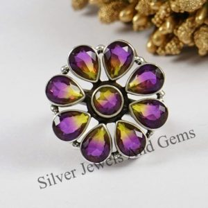 Shop Ametrine Rings! Natural Ametrine Quartz Ring-Handmade Silver Ring-925 Sterling Silver Ring-Multistone Ring-Round Teardrop Ametrine Quartz Ring-Cluster Ring | Natural genuine Ametrine rings, simple unique handcrafted gemstone rings. #rings #jewelry #shopping #gift #handmade #fashion #style #affiliate #ad