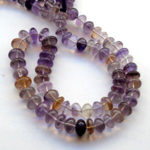 Shop Ametrine Rondelle Beads! Natural Ametrine Plain Smooth Rondelle Beads, 10mm to 12mm Ametrine Loose Gemstone beads, Sold As 9 Inch/18 Inch Strand, GDS2051 | Natural genuine rondelle Ametrine beads for beading and jewelry making.  #jewelry #beads #beadedjewelry #diyjewelry #jewelrymaking #beadstore #beading #affiliate #ad