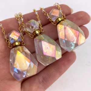 Shop Angel Aura Quartz Necklaces! Angel Aura Quartz Essential Oil Bottle Necklace, Crystal Perfume Bottle, Crystal Essential Oil Bottle, Gemstone Perfume Bottle | Natural genuine Angel Aura Quartz necklaces. Buy crystal jewelry, handmade handcrafted artisan jewelry for women.  Unique handmade gift ideas. #jewelry #beadednecklaces #beadedjewelry #gift #shopping #handmadejewelry #fashion #style #product #necklaces #affiliate #ad