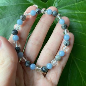 Shop Angelite Bracelets! Angelite Bracelet, Crystal Bracelet, Crystal Jewelry, Gemstone Jewelry | Natural genuine Angelite bracelets. Buy crystal jewelry, handmade handcrafted artisan jewelry for women.  Unique handmade gift ideas. #jewelry #beadedbracelets #beadedjewelry #gift #shopping #handmadejewelry #fashion #style #product #bracelets #affiliate #ad