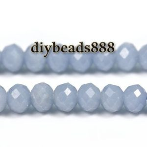 """Shop Angelite Beads! Blue Angelite faceted rondelle beads,abacus beads,space beads,Angelite,Natural,Gemstone,DIY,making jewelry supplies,4x6mm,15"""" full strand 
