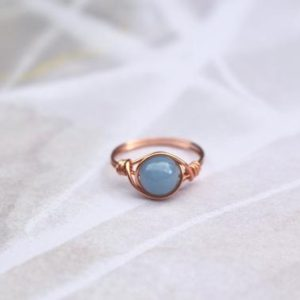 Shop Angelite Rings! Angelite ring, copper wire ring, copper ring, blue stone ring, gemstone ring, angelite wire ring, boho wire ring, wire wrapped ring, ring | Natural genuine Angelite rings, simple unique handcrafted gemstone rings. #rings #jewelry #shopping #gift #handmade #fashion #style #affiliate #ad