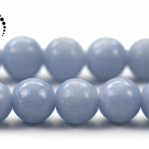 """Shop Angelite Beads! Blue Angelite smooth round beads,Angelite,Natural,Gemstone,DIY,jewelry making supplies,7.5mm,15"""" full strand 