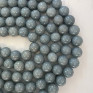 Shop Angelite Beads! Natural Angelite 12mm 14mm 15mm Round Gemstone Bead– -15.5 inch strand- | Natural genuine round Angelite beads for beading and jewelry making.  #jewelry #beads #beadedjewelry #diyjewelry #jewelrymaking #beadstore #beading #affiliate #ad