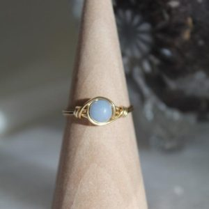 Angelite Wire Wrapped Ring | Crystal Rings | Stackable Gemstone Rings | Handmade Rings | Natural genuine Angelite rings, simple unique handcrafted gemstone rings. #rings #jewelry #shopping #gift #handmade #fashion #style #affiliate #ad