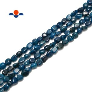 """Shop Apatite Chip & Nugget Beads! Dark Blue Apatite Smooth Pebble Nugget Beads Size Approx 7x9mm 15.5"""" Strand   Natural genuine chip Apatite beads for beading and jewelry making.  #jewelry #beads #beadedjewelry #diyjewelry #jewelrymaking #beadstore #beading #affiliate #ad"""