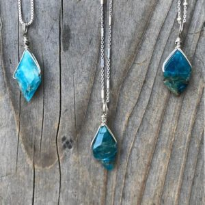 Shop Apatite Pendants! Apatite / Apatite Necklace / Apatite Pendant / Diamond Shaped Apatite / Chakra Jewelry / Apatite Jewelry / Sterling Silver | Natural genuine Apatite pendants. Buy crystal jewelry, handmade handcrafted artisan jewelry for women.  Unique handmade gift ideas. #jewelry #beadedpendants #beadedjewelry #gift #shopping #handmadejewelry #fashion #style #product #pendants #affiliate #ad