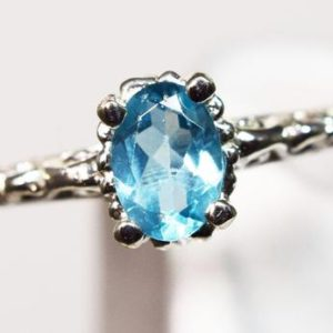 Shop Apatite Rings! Apatite Ring, Genuine Gemstone 7x5mm Oval .68ct , Set in Solitaire Scrolled 925 Sterling Silver Ring   Natural genuine Apatite rings, simple unique handcrafted gemstone rings. #rings #jewelry #shopping #gift #handmade #fashion #style #affiliate #ad