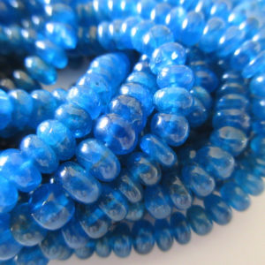 Shop Apatite Rondelle Beads! Apatite Smooth Rondelle Beads, Neon Blue Apatite Rondelles, 5mm To 8mm, 18 Inch Strand, GDS718   Natural genuine rondelle Apatite beads for beading and jewelry making.  #jewelry #beads #beadedjewelry #diyjewelry #jewelrymaking #beadstore #beading #affiliate #ad