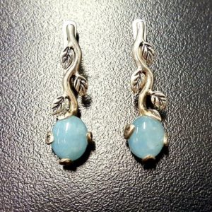 Shop Aquamarine Earrings! Aquamarine Earrings, Natural Aquamarine, March Birthstone, Silver Leaf Earrings, Blue Earrings, Dainty Earrings, Blue Vintage Earrings | Natural genuine Aquamarine earrings. Buy crystal jewelry, handmade handcrafted artisan jewelry for women.  Unique handmade gift ideas. #jewelry #beadedearrings #beadedjewelry #gift #shopping #handmadejewelry #fashion #style #product #earrings #affiliate #ad