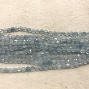Faceted Aquamarine Blue 4.5-5mm Flat Round Cut Grade A Natural Coin Beads 15 Inch Jewelry Bracelet Necklace Material Supply | Natural genuine other-shape Gemstone beads for beading and jewelry making.  #jewelry #beads #beadedjewelry #diyjewelry #jewelrymaking #beadstore #beading #affiliate #ad