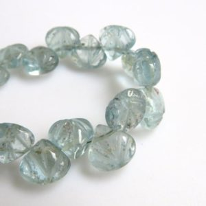 """Natural Blue Aquamarine Hand Carved Heart Shaped Briolette Beads, 8-10mm/7mm Aquamarine Carving Gemstone Beads, Sold As 11""""/5.5"""", GDS1307 