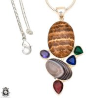Aragonite Pendant 4mm Italian Snake Chain P7152 | Natural genuine Gemstone jewelry. Buy crystal jewelry, handmade handcrafted artisan jewelry for women.  Unique handmade gift ideas. #jewelry #beadedjewelry #beadedjewelry #gift #shopping #handmadejewelry #fashion #style #product #jewelry #affiliate #ad