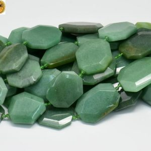 Shop Aventurine Chip & Nugget Beads! 15 inch strand of Deep Green Aventurine faceted nugget beads 25-30×28-38mm | Natural genuine chip Aventurine beads for beading and jewelry making.  #jewelry #beads #beadedjewelry #diyjewelry #jewelrymaking #beadstore #beading #affiliate #ad