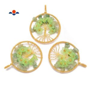 Shop Aventurine Chip & Nugget Beads! Green Aventurine Chips Flower Tree of Life Charm Pendant Size50mm Sold Per Piece | Natural genuine chip Aventurine beads for beading and jewelry making.  #jewelry #beads #beadedjewelry #diyjewelry #jewelrymaking #beadstore #beading #affiliate #ad