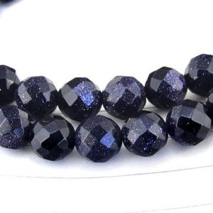 """Shop Aventurine Faceted Beads! One Full Strand — Charm starry Sky faceted Blue Goldstone Blue Aventurine Gemstone Beads— 8mm —-about 49 Pieces—- 15"""" in length 