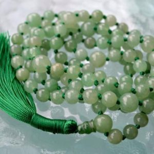 AAA Natural Green Aventurine Mala Necklace, 108 Mala Beads, Mala Necklace, Mala, Meditation Beads, Mala Beads, Mala Prayer Beads, Knotted | Natural genuine Gemstone necklaces. Buy crystal jewelry, handmade handcrafted artisan jewelry for women.  Unique handmade gift ideas. #jewelry #beadednecklaces #beadedjewelry #gift #shopping #handmadejewelry #fashion #style #product #necklaces #affiliate #ad