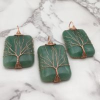 Green Aventurine Tree Pendant Copper Wire Wrap Rectangle 30x50mm Sold Per Piece | Natural genuine Gemstone jewelry. Buy crystal jewelry, handmade handcrafted artisan jewelry for women.  Unique handmade gift ideas. #jewelry #beadedjewelry #beadedjewelry #gift #shopping #handmadejewelry #fashion #style #product #jewelry #affiliate #ad
