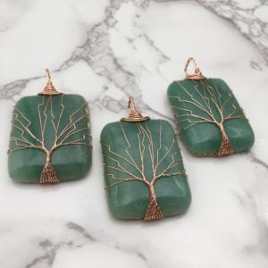 Shop Aventurine Pendants! Green Aventurine Tree Pendant Copper Wire Wrap Rectangle 30x50mm Sold Per Piece | Natural genuine Aventurine pendants. Buy crystal jewelry, handmade handcrafted artisan jewelry for women.  Unique handmade gift ideas. #jewelry #beadedpendants #beadedjewelry #gift #shopping #handmadejewelry #fashion #style #product #pendants #affiliate #ad