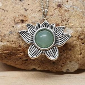 Shop Aventurine Pendants! Aventurine lotus Pendant. Green Reiki jewelry uk. Women's Silver plated flower necklace. 10mm stone | Natural genuine Aventurine pendants. Buy crystal jewelry, handmade handcrafted artisan jewelry for women.  Unique handmade gift ideas. #jewelry #beadedpendants #beadedjewelry #gift #shopping #handmadejewelry #fashion #style #product #pendants #affiliate #ad