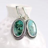 Blue Green Malachite With Azurite Retro Earring, Sterling Silver Jewelry, Oval Bold Earrings | Natural genuine Gemstone jewelry. Buy crystal jewelry, handmade handcrafted artisan jewelry for women.  Unique handmade gift ideas. #jewelry #beadedjewelry #beadedjewelry #gift #shopping #handmadejewelry #fashion #style #product #jewelry #affiliate #ad