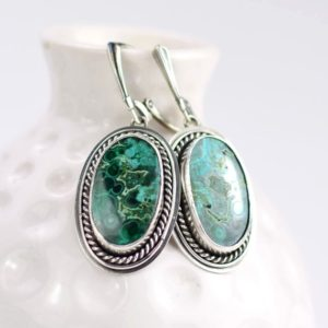 Shop Azurite Earrings! Blue green malachite with azurite retro earring, sterling silver jewelry, oval bold earrings | Natural genuine Azurite earrings. Buy crystal jewelry, handmade handcrafted artisan jewelry for women.  Unique handmade gift ideas. #jewelry #beadedearrings #beadedjewelry #gift #shopping #handmadejewelry #fashion #style #product #earrings #affiliate #ad
