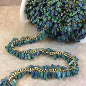 Shop Azurite Bead Shapes! Gold Plated Copper Double Dangle Rosary Chain With 6-8mm Rectangle Syn. Azurite / malachite Beads – Sold By The Foot Only – Beaded Chain | Natural genuine other-shape Azurite beads for beading and jewelry making.  #jewelry #beads #beadedjewelry #diyjewelry #jewelrymaking #beadstore #beading #affiliate #ad