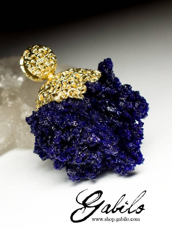 Azurite Gold Pendant Blue Gemstone 14k Gold Necklace Fine Jewelry Lord Of The Rings Jewelry