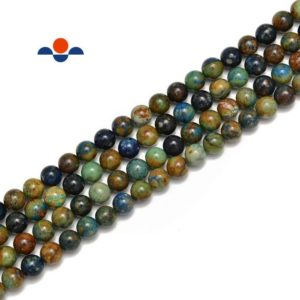 """Shop Azurite Beads! Natural Azurite Smooth Round Beads Size 6mm 8mm 10mm 15.5"""" Strand 
