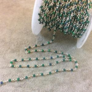 Shop Azurite Beads! Silver Plated Wrapped Copper Rosary Chain With Glossy 2mm Round Shaped Manmade Malachite / azurite Beads – Sold In 1' Increments – (ch021-sv) | Natural genuine beads Azurite beads for beading and jewelry making.  #jewelry #beads #beadedjewelry #diyjewelry #jewelrymaking #beadstore #beading #affiliate #ad