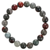 "African Bloodstone Bracelet Smooth Round Size 8mm 10mm 7.5"" Length 