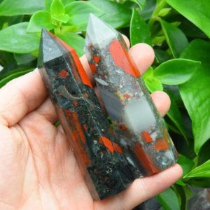 """Shop Bloodstone Points & Wands! 4"""" Africa Blood Stone Tower,Crystal Tower,Healing Crystal Tower/Wand,Home Decor,Reiki Chakra Healing Crystal Tower Decor.For Gift 