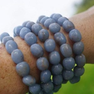 """Shop Angelite Bracelets! Blue ANGELITE Bracelet – Angelite Beads – This Healing Crystal can give the frequency of Angels – 8-10mm Beads 7.25"""" EB JT 