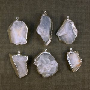 Blue Calcite Pendant electroplated Silver EXCLUSIVE Design S5B9-07   Natural genuine Blue Calcite jewelry. Buy crystal jewelry, handmade handcrafted artisan jewelry for women.  Unique handmade gift ideas. #jewelry #beadedjewelry #beadedjewelry #gift #shopping #handmadejewelry #fashion #style #product #jewelry #affiliate #ad