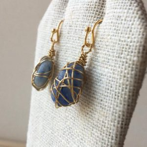 Shop Blue Calcite Earrings! Blue calcite polished gemstone wire wrapped dangle earrings, tumbled semiprecious caged crystals, gold plated jewelry   Natural genuine Blue Calcite earrings. Buy crystal jewelry, handmade handcrafted artisan jewelry for women.  Unique handmade gift ideas. #jewelry #beadedearrings #beadedjewelry #gift #shopping #handmadejewelry #fashion #style #product #earrings #affiliate #ad
