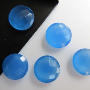 Shop Blue Chalcedony Beads! 10 Pieces 11mm Each Natural Blue Chalcedony Round Coin Shaped Both Side Faceted Loose Gemstones Jewelry BB48 | Natural genuine faceted Blue Chalcedony beads for beading and jewelry making.  #jewelry #beads #beadedjewelry #diyjewelry #jewelrymaking #beadstore #beading #affiliate #ad
