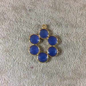 Shop Blue Chalcedony Beads! 26mm Gold Finish Faceted Natural Blue Chalcedony 6 Petal (8mm) Flower Shaped Plated Copper Bezel Pendant – Sold Individually, Random | Natural genuine faceted Blue Chalcedony beads for beading and jewelry making.  #jewelry #beads #beadedjewelry #diyjewelry #jewelrymaking #beadstore #beading #affiliate #ad