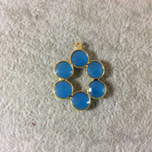 Shop Blue Chalcedony Beads! 26mm Gold Finish Faceted Natural Sky Blue Chalcedony 6 Petal (8mm) Flower Shaped Plated Copper Bezel Pendant – Sold Individually, Random | Natural genuine faceted Blue Chalcedony beads for beading and jewelry making.  #jewelry #beads #beadedjewelry #diyjewelry #jewelrymaking #beadstore #beading #affiliate #ad