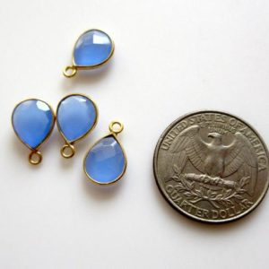 Shop Blue Chalcedony Beads! 8 Pieces 11x9mm Blue Chalcedony Faceted Pear 925 Silver Bezel Connector Charms, Single/Double Loop Blue Gemstone Connector Charms, GDS1635 | Natural genuine faceted Blue Chalcedony beads for beading and jewelry making.  #jewelry #beads #beadedjewelry #diyjewelry #jewelrymaking #beadstore #beading #affiliate #ad